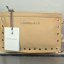 Pierre Balmain Women's Tan Leather Clutch W/ Zipper-Strap & Gold Stud Detail Photo