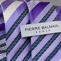 Pierre Balmain Woven Silk Necktie Purple Stripes Photo