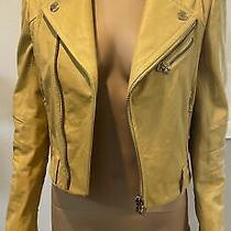 Pierre Balmain Yellow Leather Moto Jacket Sz 38 Photo