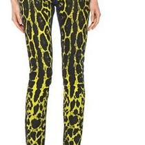 Pierre Balmain Yellow Painted Leopard Print Slim Jeans Sz 28 Photo