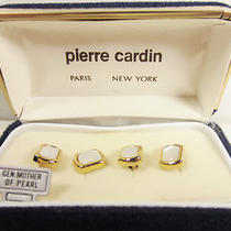Pierre Cardin Vintage Goldtone Stud Set Genuine Mother of Pearl New in Box Photo