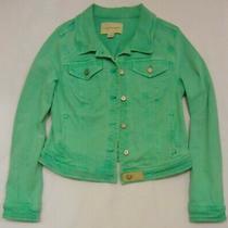Pilcro & the Letterpress Anthropologie Women's Denim Jean Jacket Cropped Green L Photo