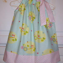 Pillowcase Dress Aqua Owls Baby Pink Dots Spring 3m 6m 12m 18m 2t 3t 4t 5t Photo