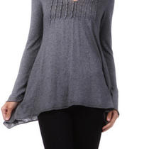 Pin Tuck Cotton Knit Sweater Tunic Top Beads Shirt Blouse Heather Gray New M Photo
