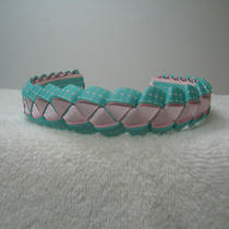 Pink and Mint/aqua With Pink Dots Braided Headband Photo