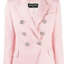 Pink Balmain Blazer Sz 38 4ai Pale Rose Silver Button Stunning Nwt Photo