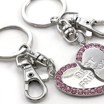 Pink Best Friend Bff Mother's Day Valentine's Day Gift Heart Keychain Key Charm Photo