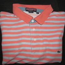 Pink & Blue W/ Chambray Trim Stripe Vineyard Vines Whale Golf Polo Shirt-Xl Photo