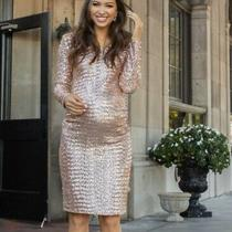 Pink Blush 149 Maternity Dress Gold Sequin Baby Shower Party Medium Sold Out Photo