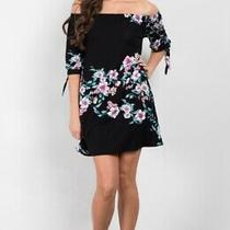 Pink Blush Black Floral Off Shoulder Tie Sleeve Maternity Dress Nwt Size Small Photo