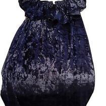 Pink Blush Blue Velvet Maternity Dress Medium Photo