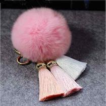 Pink Blush Faux Rabbit Fur Ball Car Gold Keychain Handbag Charm Tassel Key Ring Photo