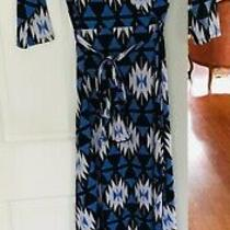 Pink Blush Long Dresssize Smallpolyester Spandexblack Blue & White Printtie Photo