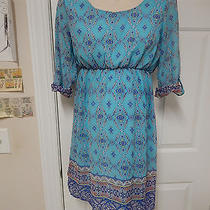 Pink Blush Maternity Blue Boho Hippie Dress Paisley M Medium 3/4 Sleeve Tunic Photo