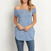 Pink Blush Maternity Blue Off Shoulder Top Small Nwt Photo