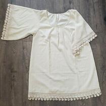Pink Blush Maternity Boho Dress. Size Large. Cream With Lace Detail. Baby Shower Photo