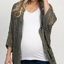 Pink Blush Maternity Crochet Cardigan- Medium- Olive Green.  Photo