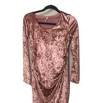 Pink Blush Maternity Dress- Crushed Blush Velvet- Fitted- Medium Photo