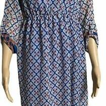 Pink Blush Maternity Dress Size M Blue White and Pink Sheer Long Sleeve Pull Ov Photo