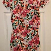 Pink Blush Maternity Floral Short Sleeve Ruched Side Dress Med Photo