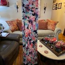 Pink Blush Maternity Flowered Maxi Tank Dress-Lined Bodice Navy Size Large Nwt Photo