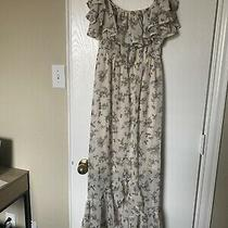 Pink Blush Maternity High Low Cream Floral Dress Small Photo