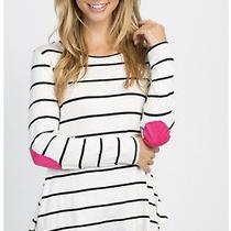 Pink Blush Maternity Ivory Striped Pink Suede Patches Top Small Photo