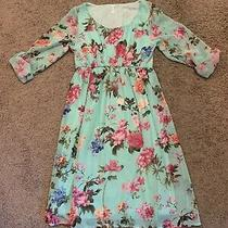 Pink Blush Maternity Mint Floral Chiffon Dress - Size Small Photo