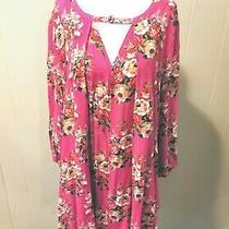 Pink Blush Maternity Romantic Dress Floral Pink 3/4 Sleeve Chiffon Pockets Small Photo