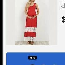 Pink Blush Maternity Small Red Maxi Dress With Laceeuc Photo