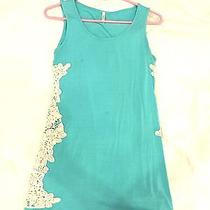 Pink Blush Maternity Teal Sleeveless Knit and Crochet Top Size Large Photo