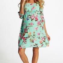 Pink Blush Mint Floral Maternity Dress. Size Large Photo