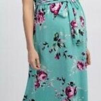 Pink Blush Mint Green Floral Halter Neckline Maternity Maxi Dress - Sz Small Photo