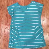 Pink Blush Mint Green Stripe Maternity Pocket Tunic M Photo