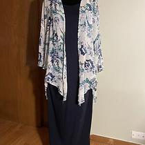 Pink Blush Navy Long Maternity Dress W/floral Sheer Jacket Euc Size Medium Photo