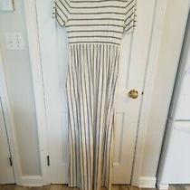 Pink Blush Pinkblush Maternity Gray & White Striped Maxi Dress Size Medium Photo