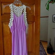 Pink Blush Purple Chiffon Crocheted Maxi Dress - Large Photo