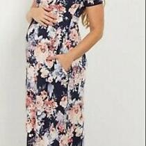 Pink Blush S Pretty Blue Pink Floral Maternity Maxi Dress Short Sleeves Pockets Photo