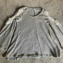 Pink Blush Women's Taupe and Cream Pullover Sweater M Crochet Lace Edged Cutouts Photo