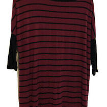 Pink Blush Womens Maternity Large Burgandy & Black Striped Dolman 3/4 Sleeve Top Photo