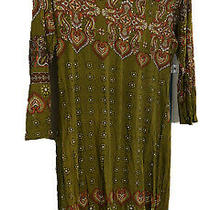 Pink Blush Womens Maternity Large Green Paisley Fitted Tunic Top Photo