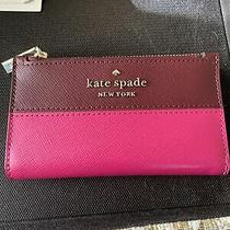 Pink Brown Kate Spade Slim Bifold  Wallet Photo