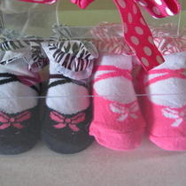 Pink Cookie Infant Baby Girl Fancy Bootie Socks Shoes 2 Pairs Brand New Photo