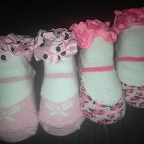 Pink Cookie Pink Leopard Bootie Socks Shoes 2 Pairs Infant Baby Girl Fancy Photo