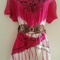 Pink Embroidered Peasant Kimono Boho Mexican Top Xlanthropologie Earrings  Photo