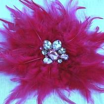 Pink Feather Brooch Lane Bryant Rhinestone Hair Clip Clamp Crystal Jewel Sparkle Photo