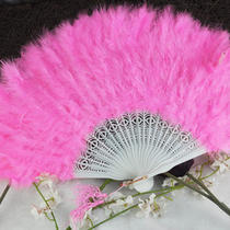 Pink Feather Folding Hand Fans Fancy Dress Party Wedding Favor Photo