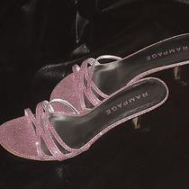 Pink Glitter Open Toe Slip on Heels Pink Heels Pink Bedroom Heels 2.5