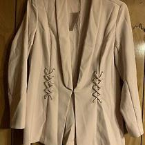 Pink Long Sleeved Womens Blazer With Lapel Collar and Braided Decor Photo