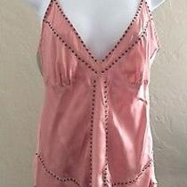 Pink Mauve Goldhawk Womens 100% Silk Bronze Studded v Neck Shirt Cami Tank Top M Photo